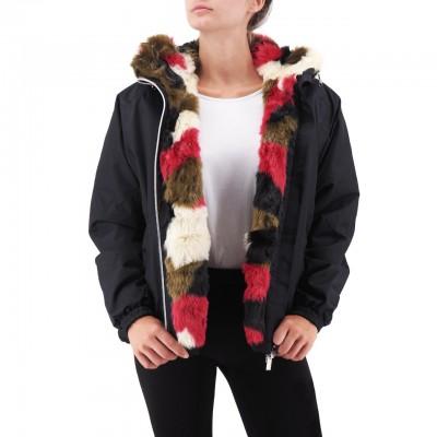K-Way | Marie Nylon Graphic Fur, Nero | KWAY_K00BRI0_903