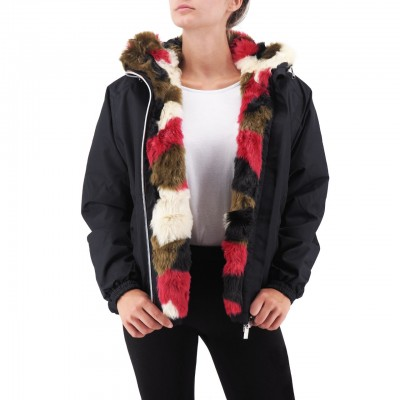 K-Way | Marie Nylon Graphic Fur, Nero | KWAY_K00BRI0_903
