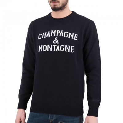 MC2 Saint Barth | Round Neck Sweater Montagne & Champagne, Blu | MC2_MNCH61 MONCHAMP 61