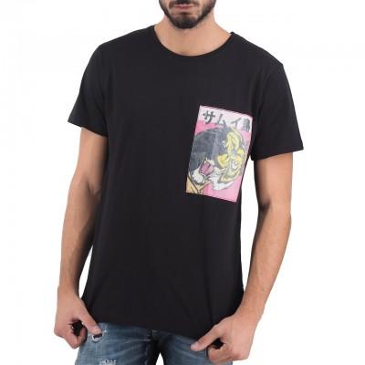 Ko Samui | Uomo Tigre Rice Paper Patch T-Shirt Nero | KSU_TT 585 TIGERMAN