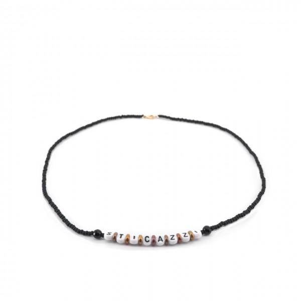 Gian Paolo Fantoni | Write Me Necklace With Sti Cazzi Beads, Black | FNT_COLWRITEMEPSTICAZZI