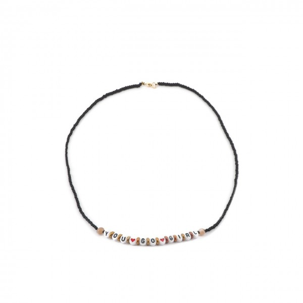Gian Paolo Fantoni   Write Me Necklace With Beads You Go Girl, Black   FNT_COLWRITEMEPYOUGOGIRL