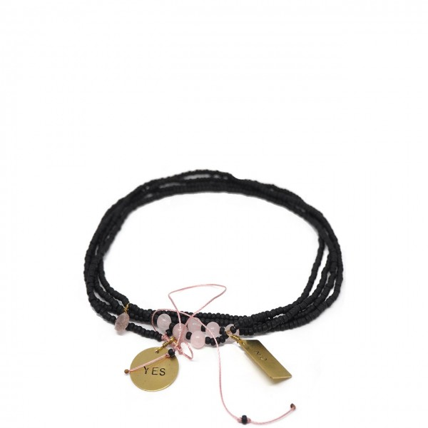Gian Paolo Fantoni | Long Necklace With Medals Yes No, Black | FNT_COLYESNO