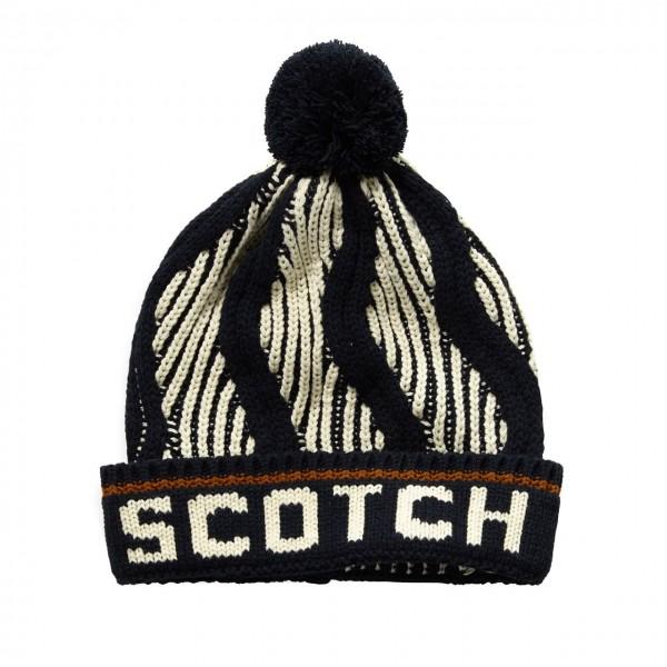 Scotch & Soda | Patterned Ski Pom Pom Beanie, Nero | S&S_152877 0218
