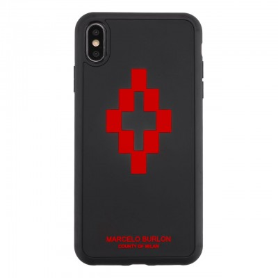 Marcelo Burlon | Cover 3D Cross Red iPhone XS Max Nero | MBU_MXSM-3DCROSSRED