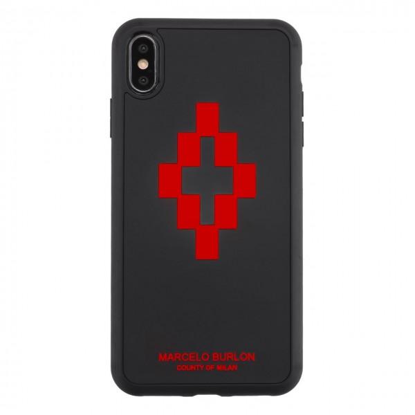 Marcelo Burlon   Cover 3D Cross Red iPhone XS Max Nero   MBU_MXSM-3DCROSSRED