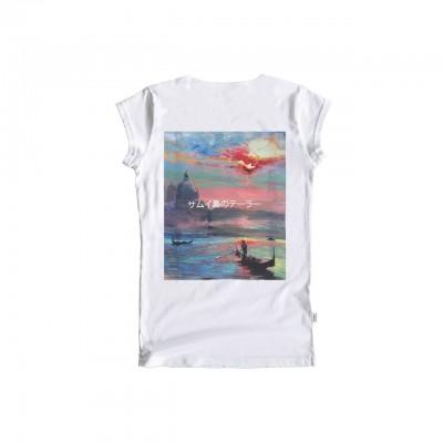 Ko Samui | Back Silk T-Shirt, Bianco | KSU_TZ 325 LAGOON WHT