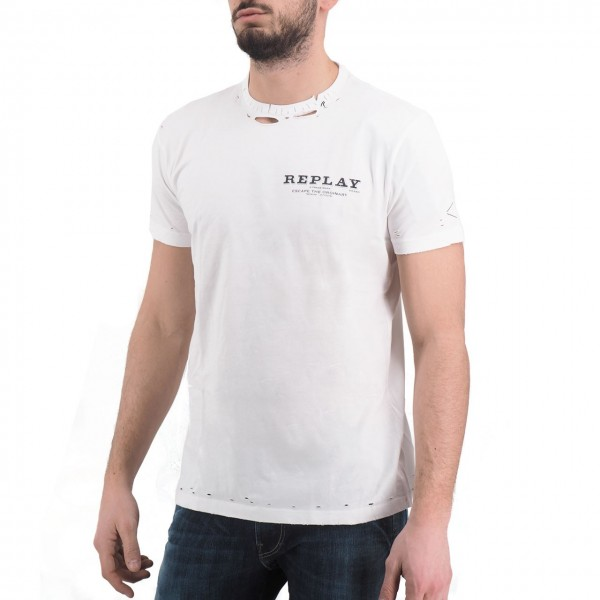 Replay   T-Shirt, Bianco   RPY_M3025 .000.22038 .001