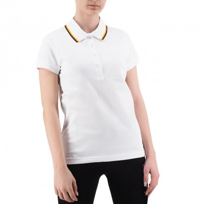 K-Way | Polo Alizee Stripes Stretch, Bianco | KWAY_K00B9N0 K01
