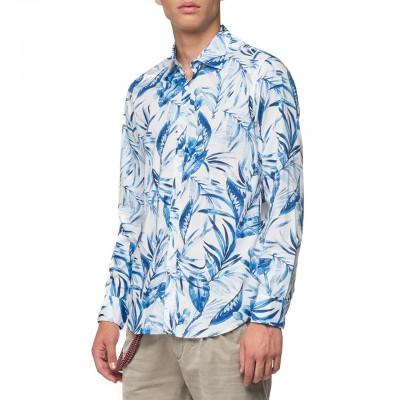 Replay | Camicia In Cotone Fiammato Foliage, Bianco | RPY_M4025 .000.71974 .010