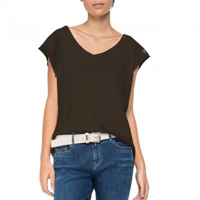 Replay | T-Shirt Con Scollo A V, Marrone | RPY_W3321 .000.22830G .529