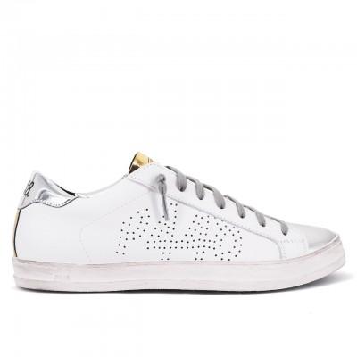 P448   Sneaker John BS Whi/Silgol Bianco   P448_F20JOHNBS WHI/SILGOL