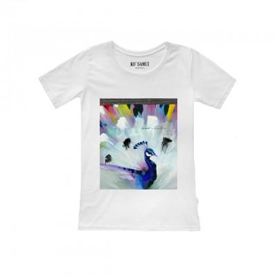 Ko Samui | Shine Plumage T-Shirt, Bianco | KSU_TF C14 PLUMAGE WHT