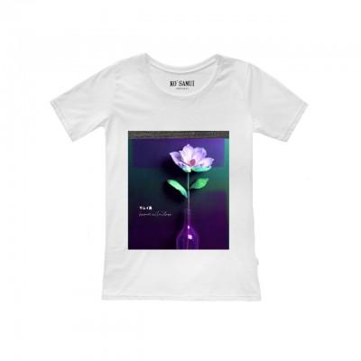 Ko Samui | Shine Crowfoot T-Shirt, Bianco | KSU_TF C11 CROWFOOT WHT