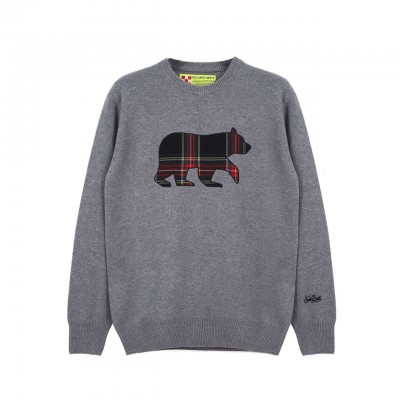 MC2 Saint Barth | Round-Neck Sweater Bear Patch, Grigio | MC2_HER001 BRPTM6