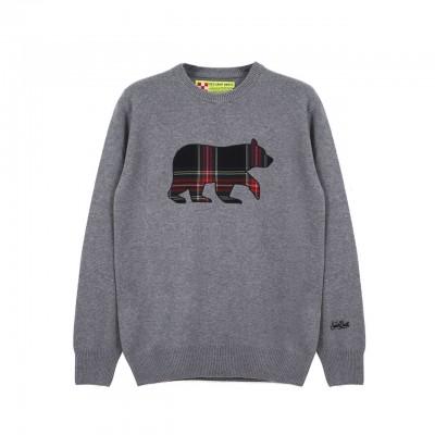 MC2 Saint Barth   Round-Neck Sweater Bear Patch, Grigio   MC2_HER001 BRPTM6