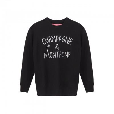 MC2 Saint Barth | Crewneck Sweater Champagne & Montagne, Nero | MC2_QUE001 EMCN0A