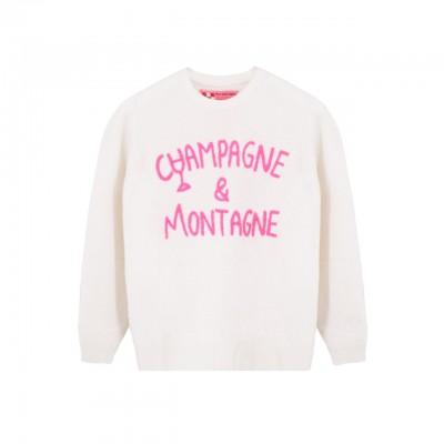 MC2 Saint Barth | Crewneck Sweater Champagne & Montagne, Bianco | MC2_QUE001 EMCN10