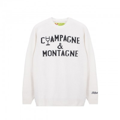 MC2 Saint Barth | Round-Neck Sweater Champagne & Montagne, Bianco | MC2_HER001 EMNC16