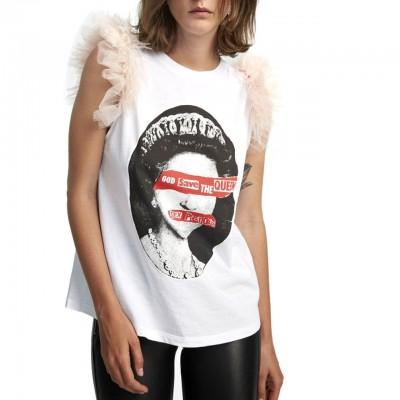 Aniye By | T-Shirt Queen, Bianco | ANI_181732 00001