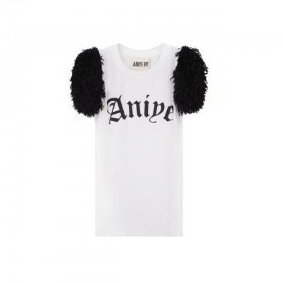 Aniye By | T-Shirt Fluffy Logo, Bianco | ANI_131272 00001