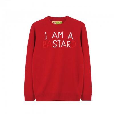 MC2 Saint Barth | Round Neck Sweater I Am A Star, Rosso | MC2_EMIS41 EMB ISTARD 41
