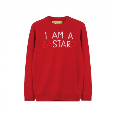 MC2 Saint Barth | Round Neck Sweater I Am A Star, Rosso | MC2_EMIS41 EMB ISTARD 41