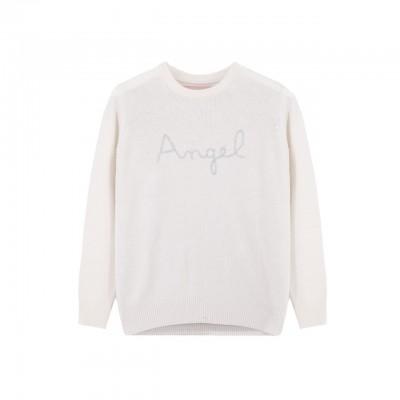 MC2 Saint Barth | Crew Neck Sweater Angel, Bianco | MC2_EMAW1A EMB ANGEL 10AR