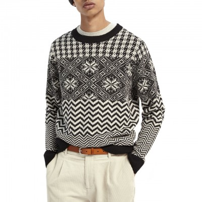 Scotch & Soda | Fair Isle Pull, Black | S&S_158607 0217