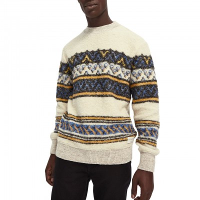 Scotch & Soda | Jacquard Sweater, White | S&S_158591 0217