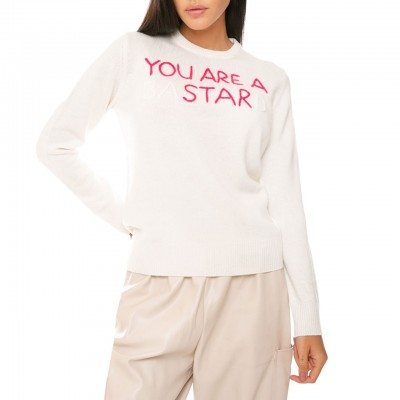 MC2 Saint Barth | Crewneck Sweater You Are A Star, Bianco | MC2_QUE0001 EMYS10