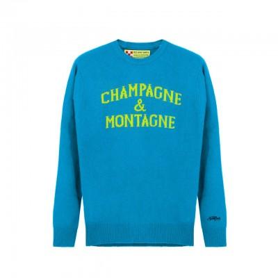 MC2 Saint Barth | Round-Neck Sweater Champagne & Montagne, Blu | MC2_HER001 MNCH39