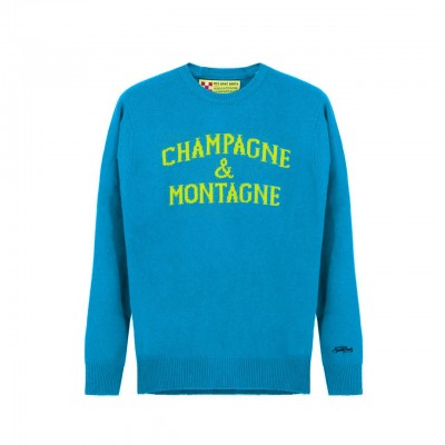 MC2 Saint Barth | Round-Neck Sweater Champagne & Montagne, Blu | MC2_HER001 MNCH39