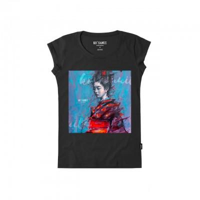 Spatter Stitch T-Shirt, Nero