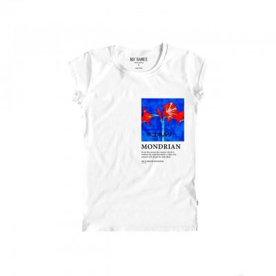 Amaryllis Art T-Shirt, Bianco