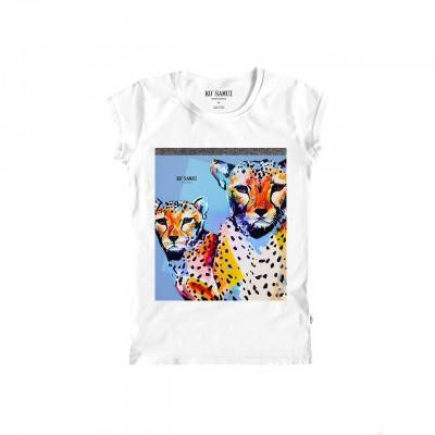 Leopards Shine T-Shirt, Bianco