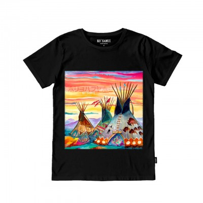 Huts Stitch T-Shirt, Black