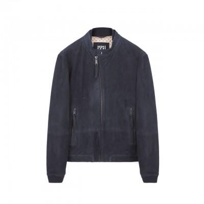 Madras Leather Jacket, Blue