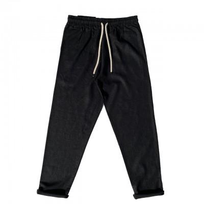 Pantalone Basico In Lino, Nero
