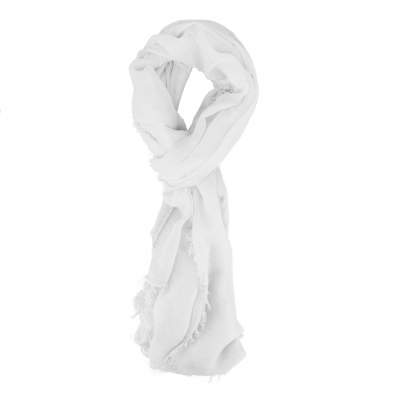 Scarf With Fringes, White