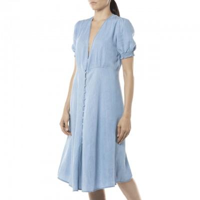 Denim Midi Dress With...