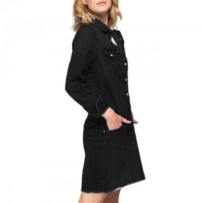 Denim Dress With Pockets,...