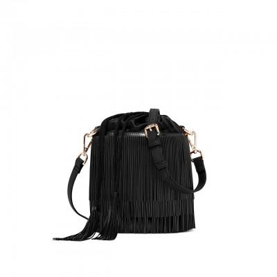 Bucket Bag With Fringe, Black