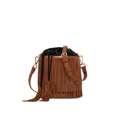Bucket Bag With Fringe, Brown