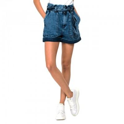 Denim Shorts With Belt, Blue