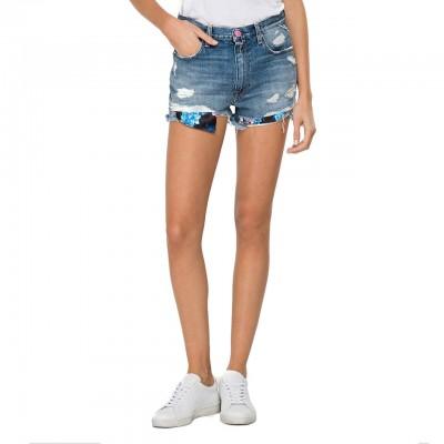 Rose Label Denim Shorts, Blue