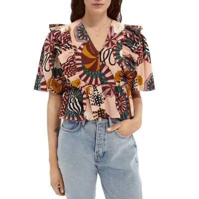 Cotton Top With Print, Pink