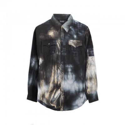 Cotton Mix Tie Dye Shirt, Nero