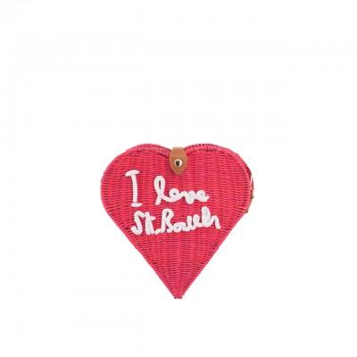 Love St Barth Wicker Bag, Red