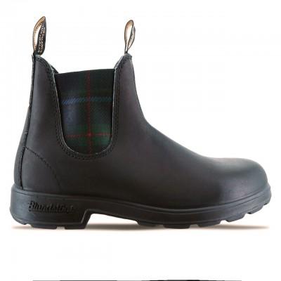 Black Green Tartan Boot, Black